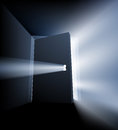 Ajar door light beam concept conceptual illustration with opening and streaming out around the and through the keyhole Royalty Free Stock Image
