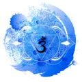 Ajna chakra line art on blue watercolor