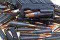 AK 47 ammo with mag Stock Photos