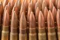 AK-47 bullets close up Royalty Free Stock Photo