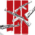 Ak poster military red stripes and kalashnikov machine guns Stock Photography