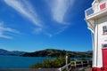 Akaroa bay lighthouse Royalty Free Stock Photo