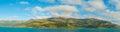 Akaroa Harbour panorama, New Zealand Royalty Free Stock Photo