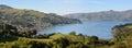 Akaroa Town Panorama, New Zealand Royalty Free Stock Photo