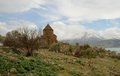 Akdamar island the armenian cathedral church of the holy cross from th century on van lake turkey Royalty Free Stock Image