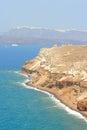 Akrotiri aegean sea coast on santorini island in greece Stock Photos