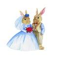 Akwarela ślubni króliki Fotografia Stock