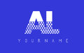 AL A L Dotted Letter Logo Design with Blue Background.