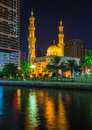 Al noor mosque in sharjah at night united arab emirates Stock Photography