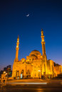 Al Noor Mosque in Sharjah at night Royalty Free Stock Photo