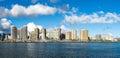 The Ala Wai Boat Harbor and hotels of Waikiki Beach Royalty Free Stock Photo