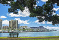 Ala wai marina and diamond head a view of waikiki from magic island on oahu hawaii Stock Images