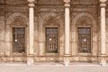 Alabaster mosque three windows of in cairo citadel Royalty Free Stock Photo