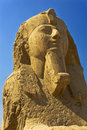 The alabaster sphinx at memphis egypt mit rahina open air museum face found outside temple of ptah pyramid fields from giza Royalty Free Stock Image