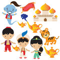 Aladdin lamp vector illustration cartoon Stock Image