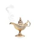 Aladdin magic lamp isolated on white Stock Photos