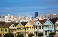 Alamo square san francisco califonia the famous painted ladies house in california with skylin Royalty Free Stock Images