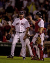 Alan embree and jason varitek boston red sox battery of catcher congratulate each other after a victory image taken from color Stock Photography