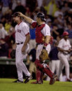 Alan embree and jason varitek boston red sox battery of catcher congratulate each other after a victory image taken from color Stock Images