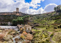 Alarcon dam reservoir beneath the tower cuenca Stock Photos