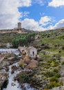 Alarcon dam reservoir beneath the tower ii cuenca Royalty Free Stock Images