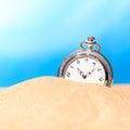 Alarm clock on the beach studio shot Stock Photo