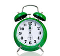Alarm clock big green isolated on white background Royalty Free Stock Photo