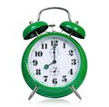 Alarm clock big green on white background Royalty Free Stock Photography