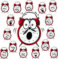 Alarm clock cartoon with many facial expressions Royalty Free Stock Photo