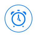 Alarm clock circular line icon. Round colorful sign. Flat style vector symbol.