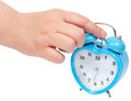 Alarm clock with clipping paths a woman hand turning off Stock Photos