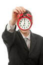 Alarm clock face businessman with covered by red Royalty Free Stock Photography