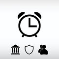 Alarm clock icon, vector illustration. Flat design style