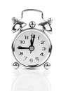 Alarm clock isolated on white in black and white Royalty Free Stock Image