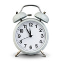 Alarm clock isolated on white, clipping path. Five minutes to tw Royalty Free Stock Photo