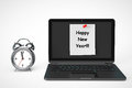Alarm clock with laptop computer and happy new year sign on a white background Stock Photos