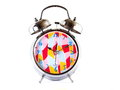 Alarm clock mettalic with bells the reminds us to the life will going on while our time in the earth will be shorten every second Royalty Free Stock Photography
