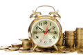 Alarm clock and money Royalty Free Stock Photo
