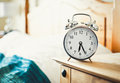 Alarm clock old fashioned chrome Stock Image