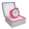 Alarm clock in open gift box d render isolated on white background Royalty Free Stock Photo