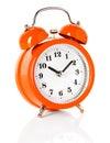 Alarm clock orange isolated on white background Stock Image