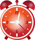 Alarm clock orange red and gray vector with a time Royalty Free Stock Images
