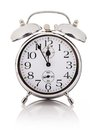 Alarm clock over white background mechanical Royalty Free Stock Photo