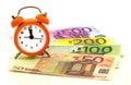 Alarm clock with paper euro money 50, 100, 200, 500 Royalty Free Stock Photo
