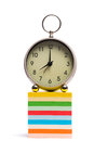 Alarm clock on pile of sticky notes Royalty Free Stock Photo