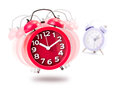 Alarm clock red isolated in white background Royalty Free Stock Photography