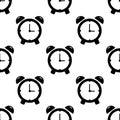 Alarm clock seamless pattern on white background. Flat Illustration Royalty Free Stock Photo
