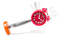 Alarm clock sleeping in the act of Royalty Free Stock Photo