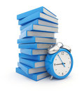 Alarm clock standing witch stack of  books. 3D Royalty Free Stock Images