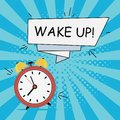Alarm clock - Wake-Up. Comics illustration in pop art style at sunburst background with dot halftone effect and speech banner.
